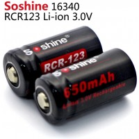 Аккумулятор Soshine Li-ion RCR123 16340 3,0 В 650 мАч